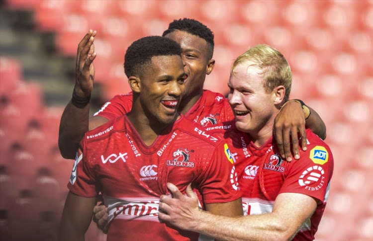 Sylvian Mahuza of the Lions scores a try during the Super Rugby match between Emirates Lions and Jaguares at Emirates Airline Park on February 24, 2018 in Johannesburg.
