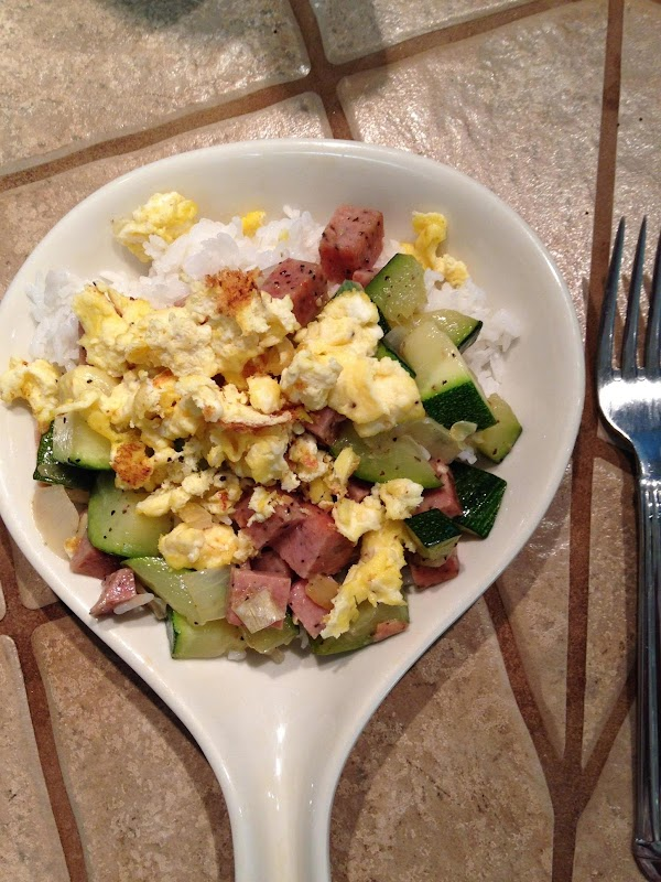 Plate:  Spoon rice onto place, top with spam/zucchini, then scrambled eggs.