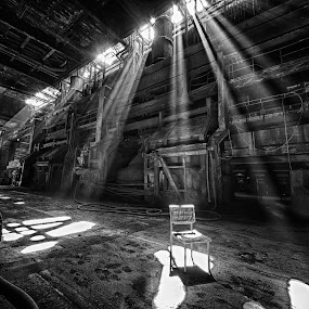 Empty Chair by Jürgen Mayer - Buildings & Architecture Decaying & Abandoned ( urban exploration, ray, urban exploring, stuhl, lost, strahl, verlassen, forgotten, vergessen, rays, licht, stahlwerk, lost place, chair, urbex, strahlen, fabrik, steelworks, verfall, factory, light, decay, abandoned )