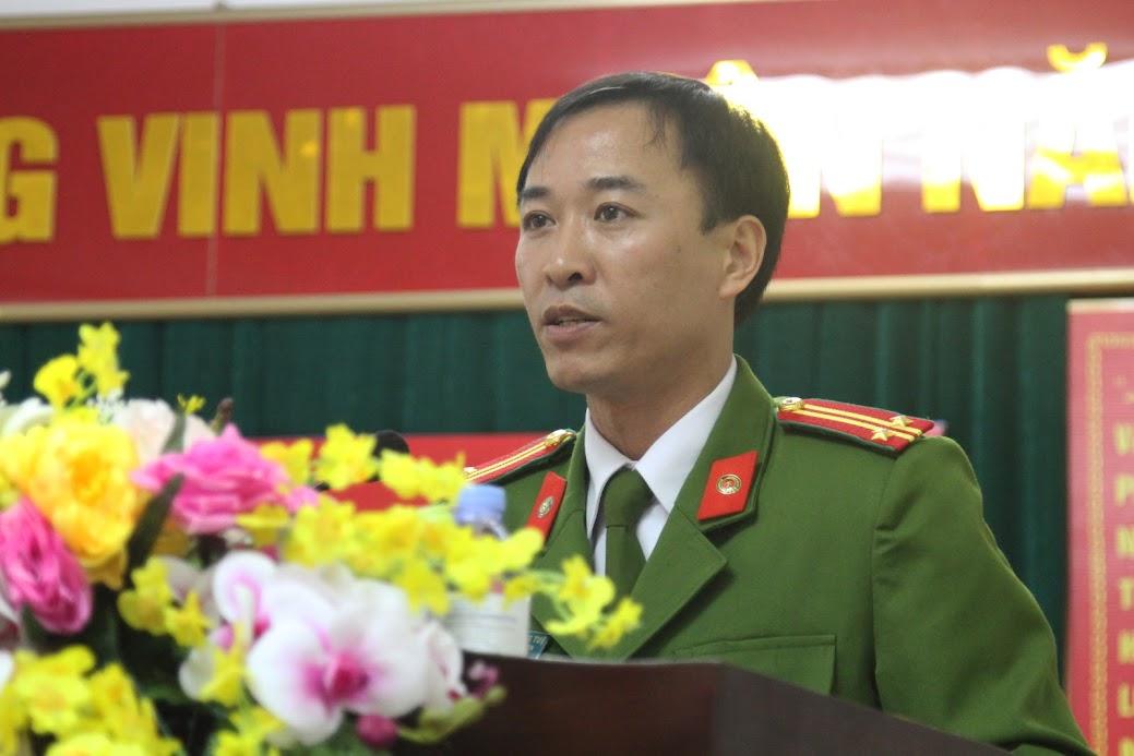 Trung tá Nguyễn Trọng Tuệ, Trưởng Công an huyện Nghi Lộc phát biểu khai mạc hội nghị