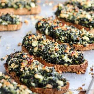 Spanakopita Bruschetta | sukrin oat & sesame bread mix.