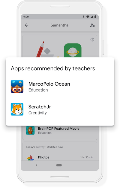 A Google phone that shows a screen offering two apps recommended by teachers: MarcoPolo Ocean and Scratch Jr.