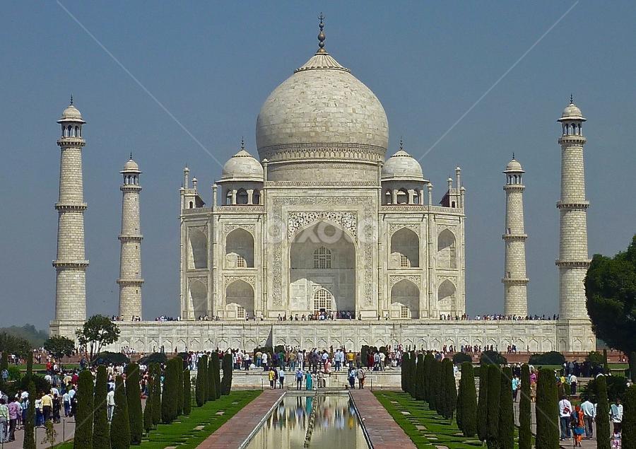 Taj Mahal by Leigh Thomson - Buildings & Architecture Public & Historical ( building, marble, mausoleum, exterior, tourism, travel, postcard, architecture, domed, landmark, taj mahal, asia, agra, india, monument, historical, public )