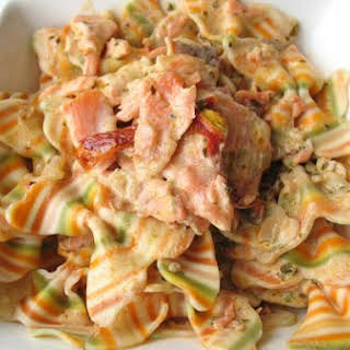 Artisan Farfalle Pasta With Smoked Salmon and Cream Sauce.