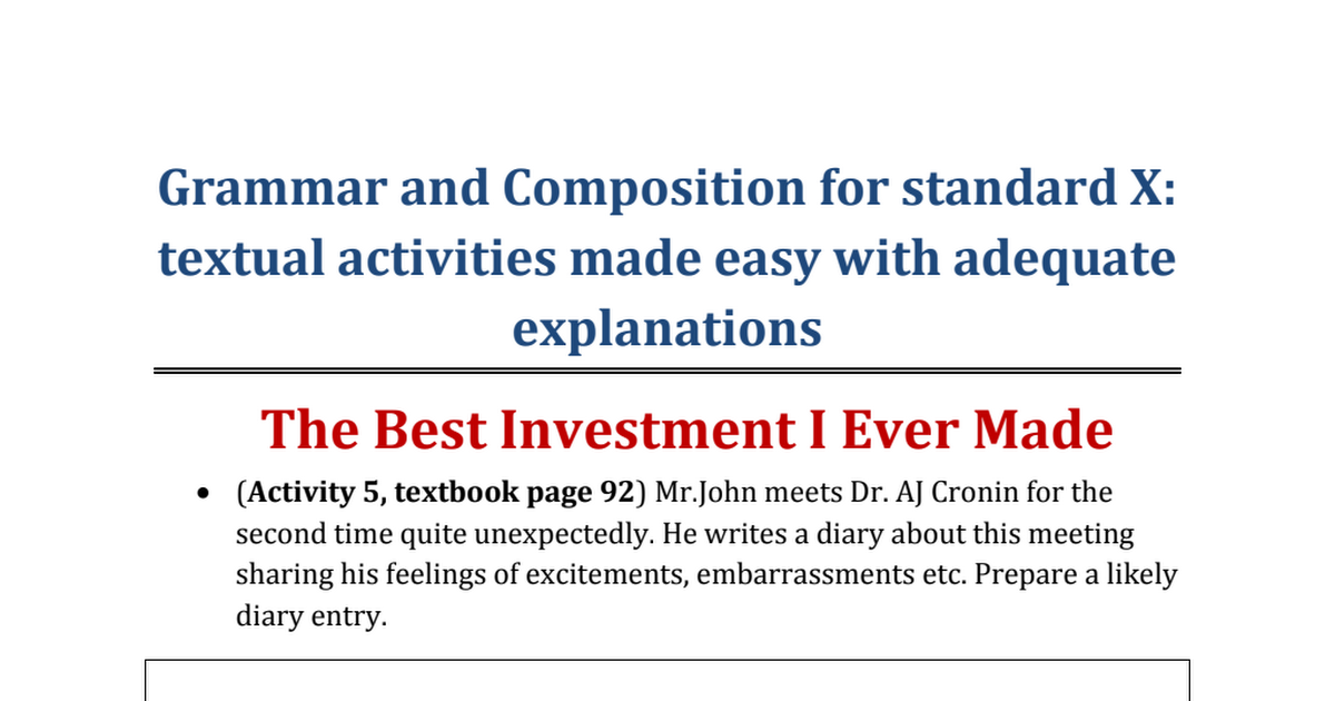 Grammar Chapter- The best Investment I Ever Made pdf