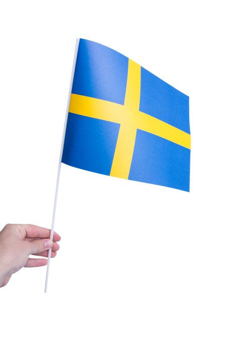 svenska flaggan i hand