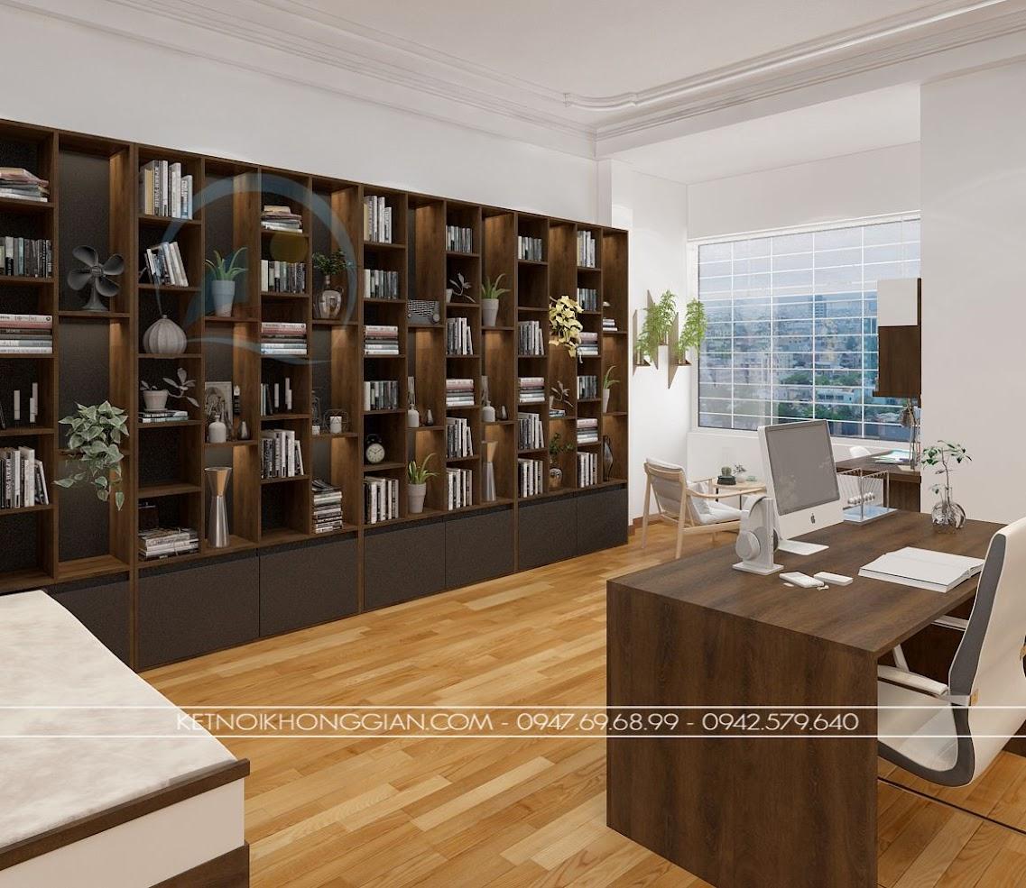thiết kế phòng đọc sách kết hợp phòng làm việc và phòng học 10