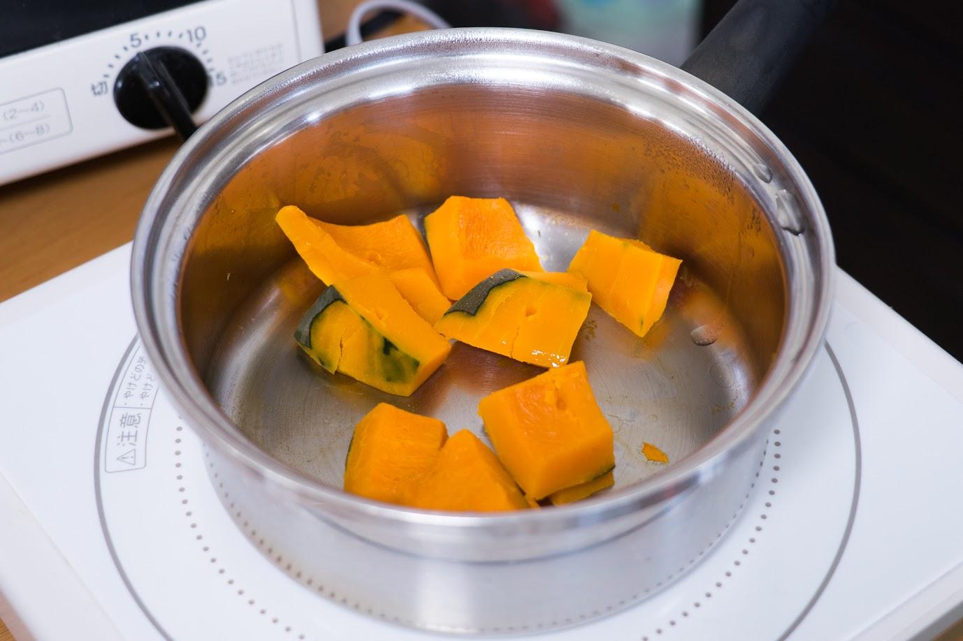 黒千石大豆と南瓜のスコップコロッケ:1口大に切り、柔らかく茹でる
