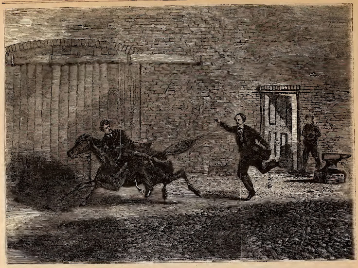 Frank Leslie's Illustrated Newspaper depicts Booth's escape from Baptist Alley.