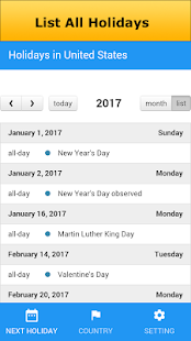 calendar 2017 with holidays