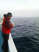 Photo: 早速、本日の講師、ブルーニングハーツのスズキさんフィーッシュ!・・・ヤガラでした。