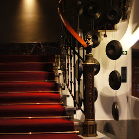 stairs of red by Amber O'Hara - Buildings & Architecture Other Interior ( stair rail, stairs, red, hotel, barcelona,  )