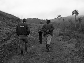 Photo: Osvaldo, Michel, and Tim Balada (from left to right) take me on a tour of the assentamento.