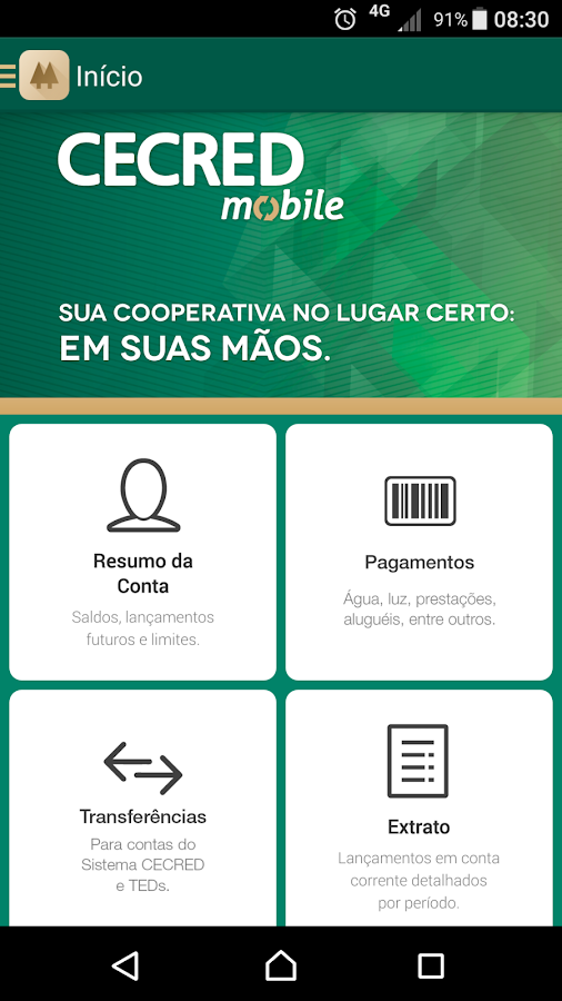 Cecred Mobile: captura de tela