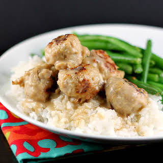 Easiest Ever Meatballs and Gravy over Rice.