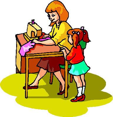 Modista cosiendo e hija mirando