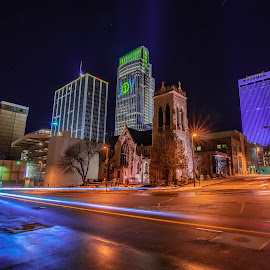 Joy by Duane Vosika - City,  Street & Park  Night ( omaha, light, light trails, cityscape, downtown, skyscraper, long exposure, holiday, tower )