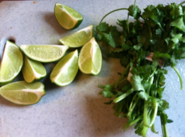 finely chop cilantro and slice limes in half