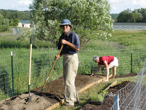 Photo: Chris and Sarah Connely from the Watkins Glen Community Garden are hard at work!