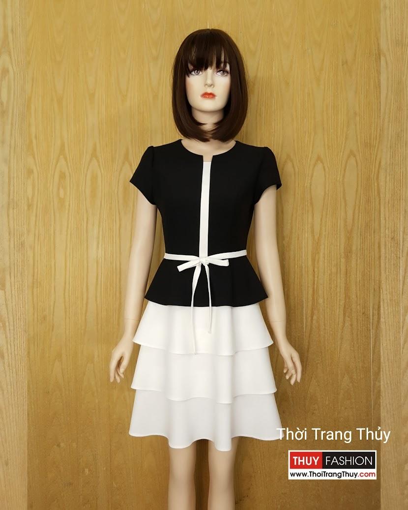 Váy xòe 3 tầng phối màu đen trắng V591 tại Hải Phòng