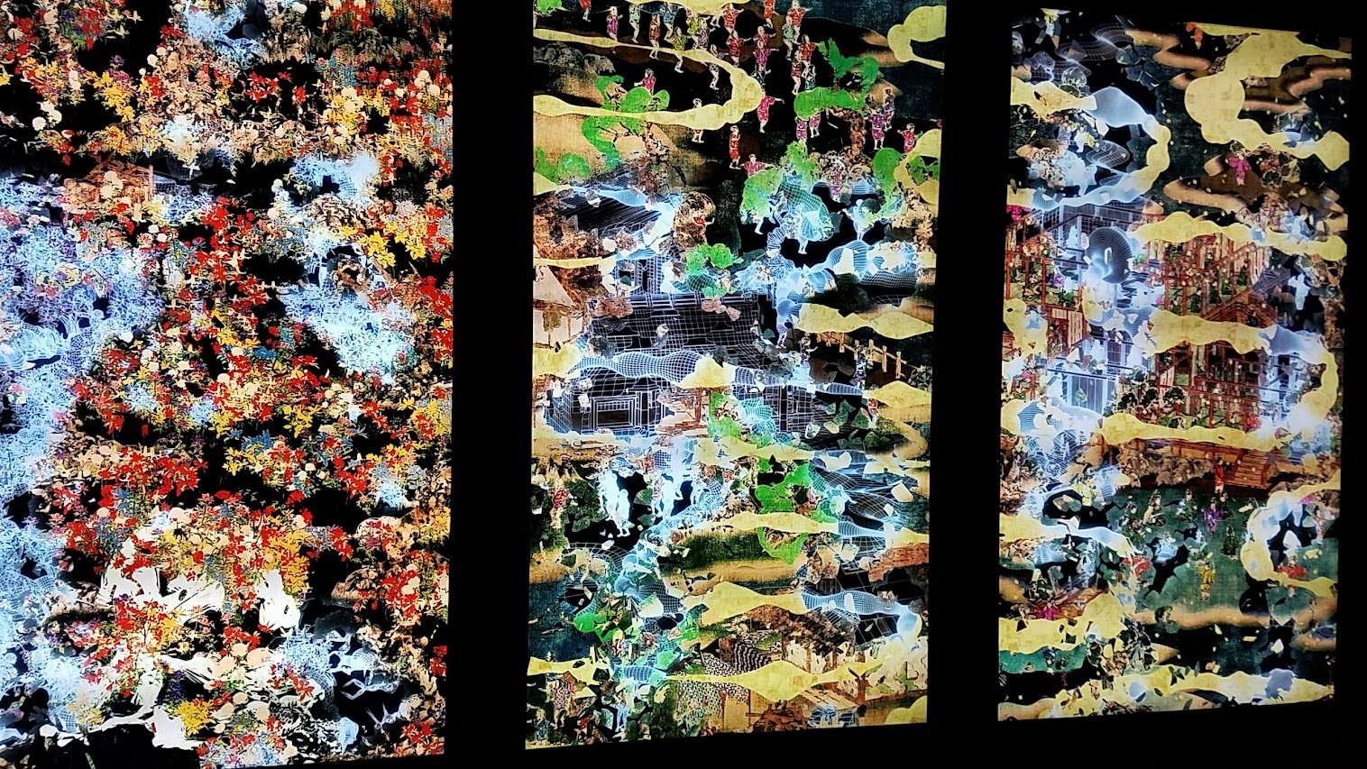 Flower and Corpse Glitch Set of 12 as part of Pace Art + Technology exhibit Living Digital Spaces and Future Parks. The work consists of 12 film stories based on the themes of civilization and nature, collision, circulation, symbiosis. The surface of Flower and Corpse Glitch Set of 12 disintegrates to reveal the hidden underside of the animation.