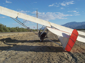 "Photo: Here's the Goat1 where it landed after the 100 kilometer cross country flight mentioned before. Floyd found a perfect landing spot, a mile wide field of baked mud, on the highway, with no fence.  This is near Thermal, California, in the Coachella Valley .  Takeoff: 32""46'29 N,  116""28'36 W  Landing:  33""37/32 N, 116""10'54 W"