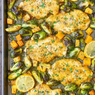 One Pan Lemon Chicken with Butternut Squash and Brussels Sprouts