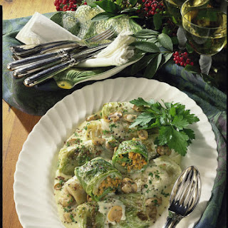 Stuffed Cabbage Leaves with Mushroom Sauce