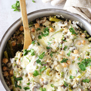 Skillet Spring Vegetable Brown Rice Casserole