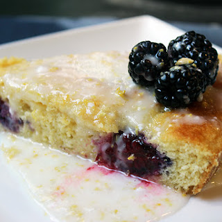 Lemon Cornmeal Cake with Blackberries and Lemon Glaze
