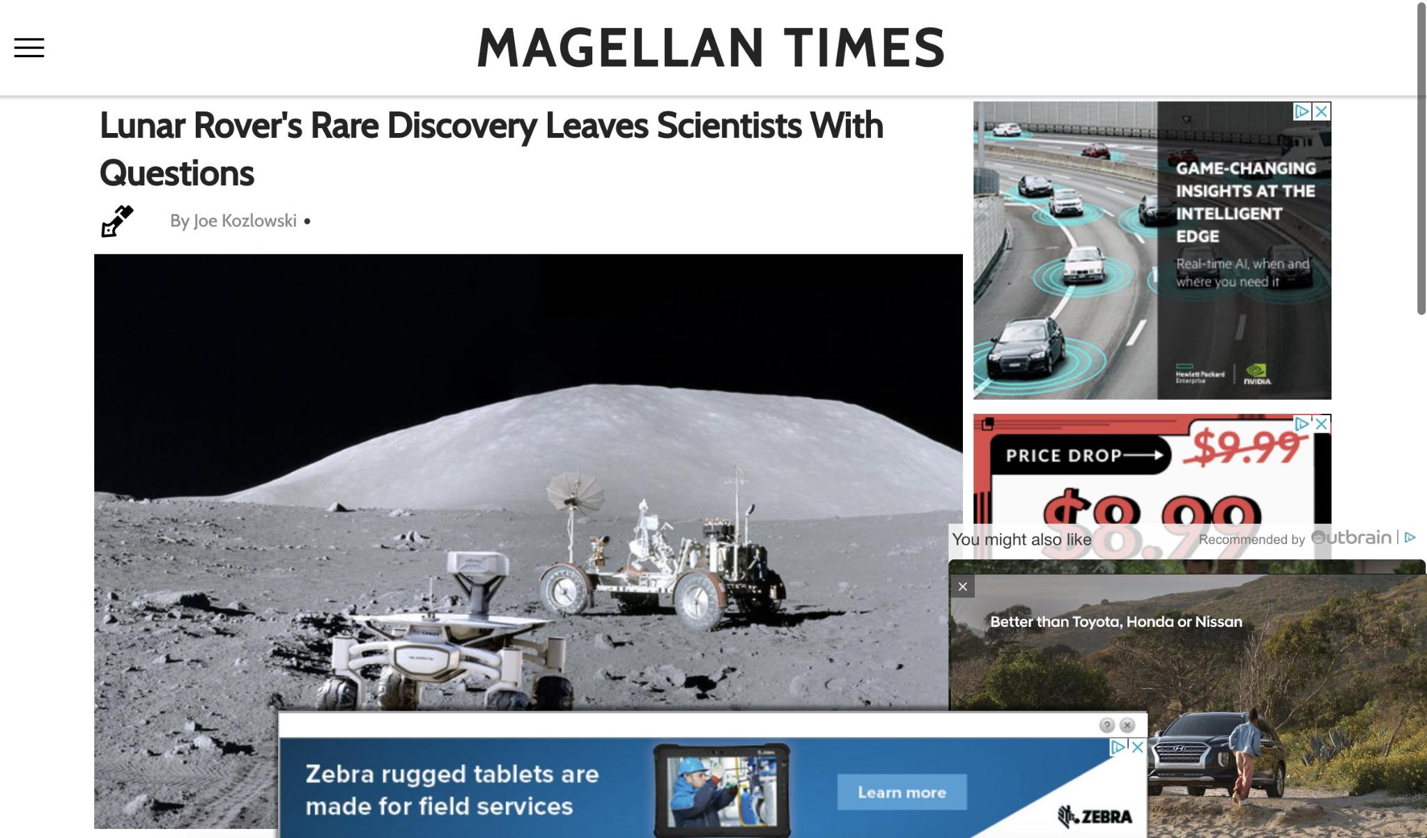 Screenshot of the magellantimes.com, reached by clicking on an Outbrain ad. This site shows a high density of ads.