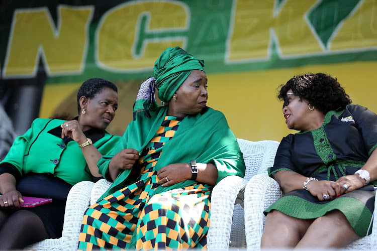 Leader of the African National Congress Women's League, Bathabile Dlamini, sits with Nkosazana Dlamini-Zuma and Minister Nomvula Mokonyane at the ANC 54th national conference.