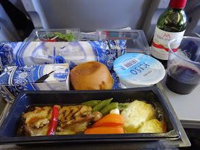 Photo: 機内食1.最後の最後で和食を頼んだのにもうなかった。でも洋風おいしかった。