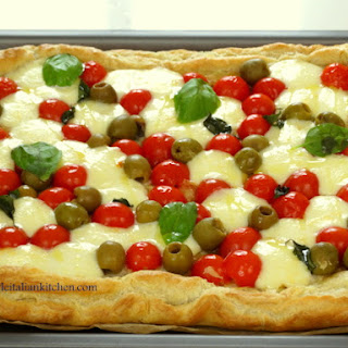 Tomato, Mozzarella And Basil Puff Pastry Tart.
