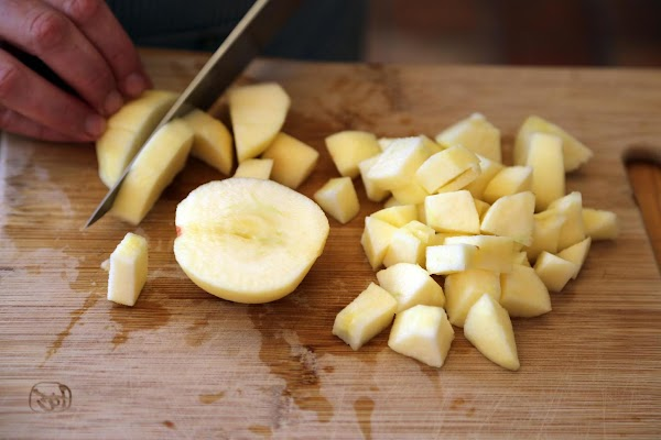 Peel and cut apples into dice size chunks, set aside