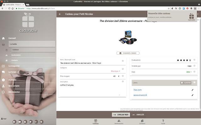 extension Chrome pour ajouter des idées cadeaux à la hotte