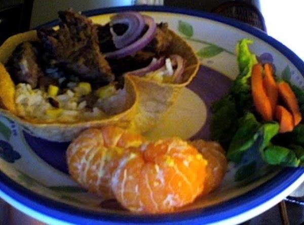 Chuck Steak & Rice Medley In Crisp Tortilla Shells Recipe