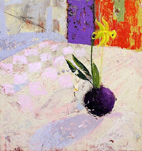 """Photo: """"A Daffodil for Lindsay""""; 19 x 18""""; acrylic on paper mounted on panel; 2016; SOLD"""