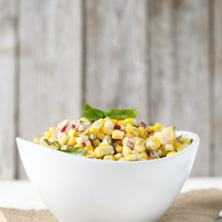 Simple Corn and Basil Salad.