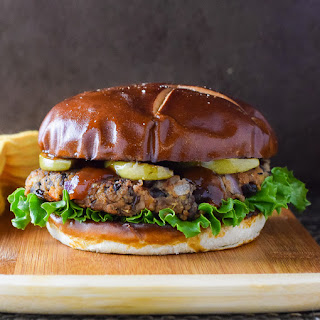Black Bean Burger with Seared Apple and BBQ Sauce.