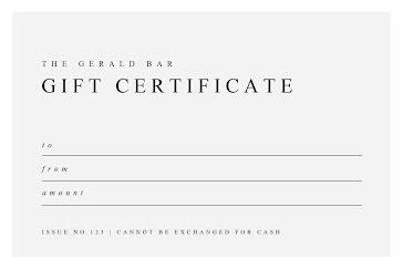 The Gerald Bar - Gift Certificate Template