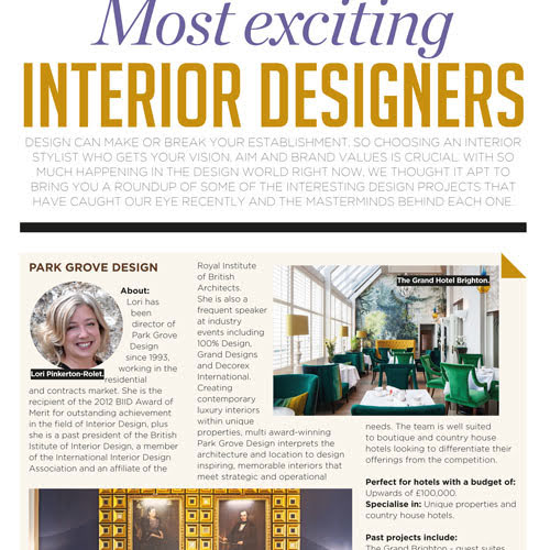 In the Press: Most Exciting Interior Designers