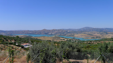 Photo: The Vinuela reservoir seen from the mountains above