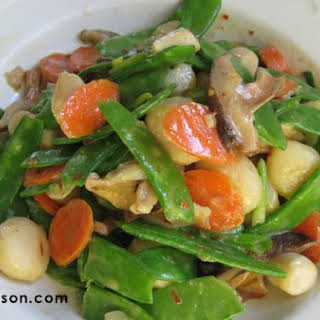 Vegetable Stir Fry With Bay Scallops.