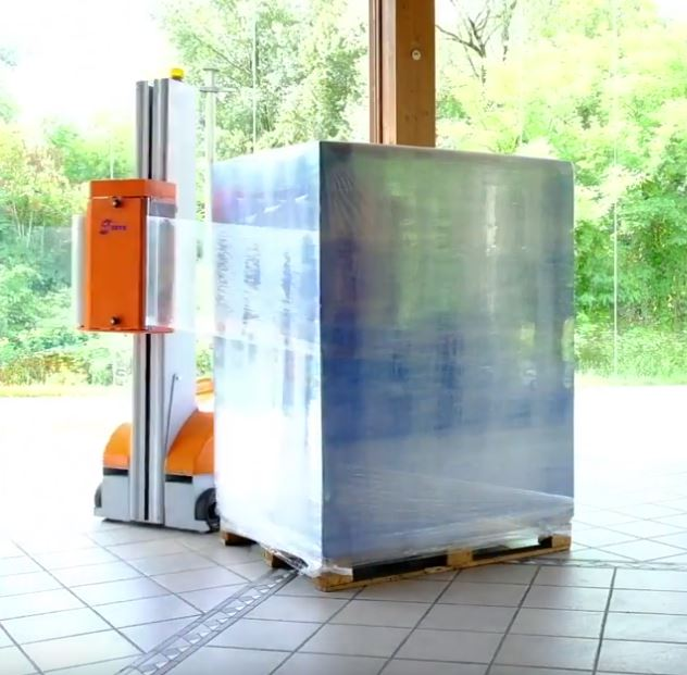 pallet wrapping machine with fully wrapped load