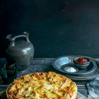 Chicken, Potato, Brie & Thyme Tart With Caramelised Onions.