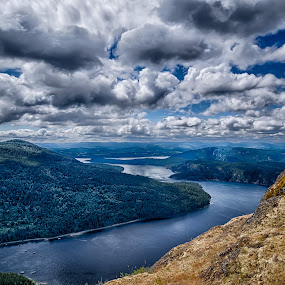 Vancouver Island seen from the top of Mt. Maxwell, Salt Spring Island by GThomas Muir - Landscapes Cloud Formations ( clouds, sky, mt. maxwell, vancouver island, ocean, salt spring island )