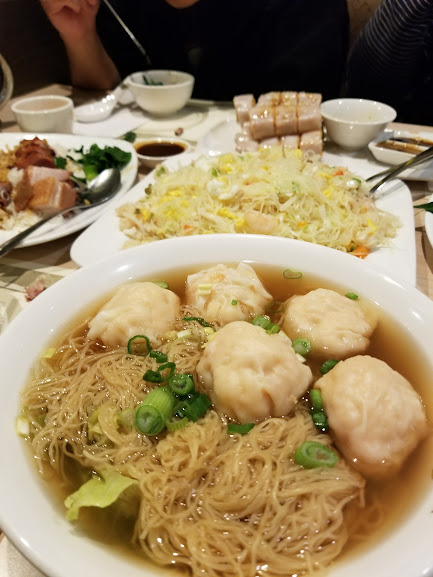 Fried rice, BBQ pork, and Wonton Noodle Soup