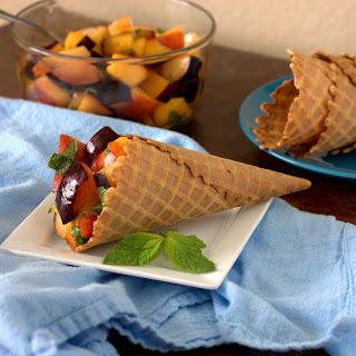 Stone fruit Salad in Waffle Cone