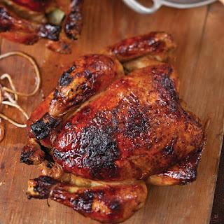Apple Cider-Glazed Roasted Chickens.